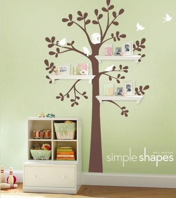 Wall Decals Baby Nursery Decor: Shelving Tree Decal With Birds   Original Wall  Decal