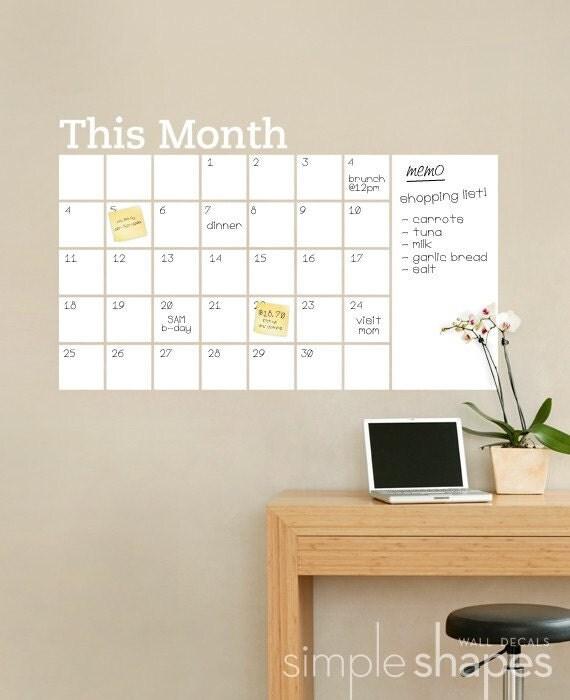 Dry Erase Calendar Decal : Dry erase wall calendar with memo vinyl decal
