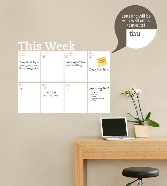 Dry Erase Weekly Calendar : Weekly planner dry erase calendar modern vinyl wall decal