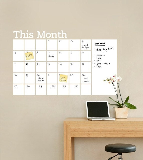 Dry Erase Wall Calendar with Memo - Vinyl Wall Decal