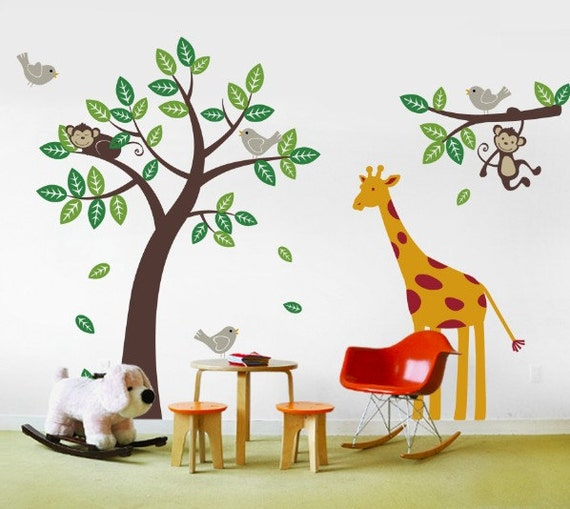 Children wall decals - Monkey Giraffe and Birds Tree and Branch Set