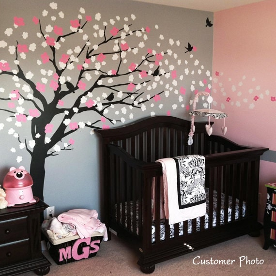 Wall decals cherry blossom tree elegant style by simpleshapes for Cherry blossom tree wall mural