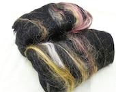 Black Spinning Fiber or Felting Fiber Batts - 180g/6.3oz - Merino and Tussah Silk - Eclipse