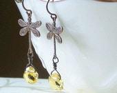 25% OFF SPRING SALE Handmade Brass Dragonfly, Citrine Earrings, Flight of Fancy