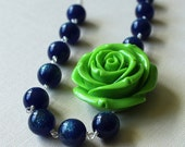 SALE Floral Statement Necklace Navy Blue Glitter Lucite Lime Green Rose, Midnight Sparkle
