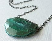 SPRING SALE Agate Necklace, Ocean Green, Gunmetal Chain, Statement Piece, Woodland Treasure