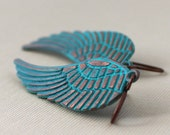 Cyber Monday Etsy Feather Earrings Wing Jewelry Verdigris Patina Copper Boho Fashion, Blue Bird