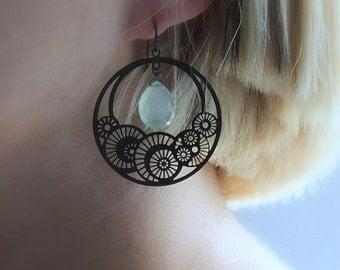 Aqua Gemstone Earrings, Laser Cut Jewelry, Black Spiral, Beach Ocean Fashion, Gift Under 50, Nautilus