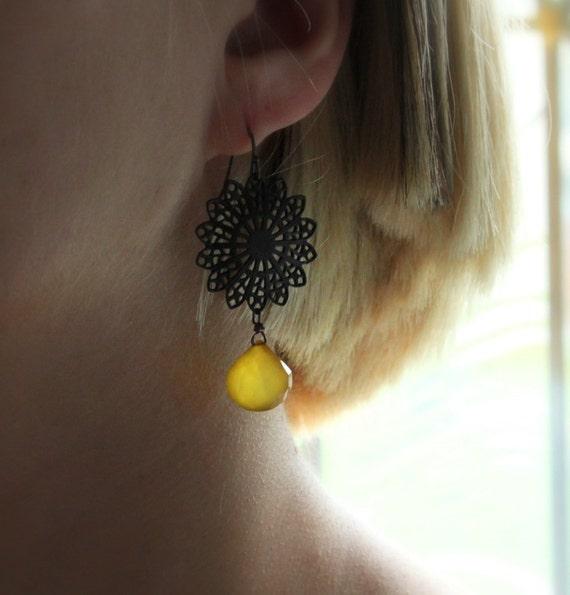 SALE Yellow Gemstone Earrings Filigree Earrings Mustard,  Sunflower