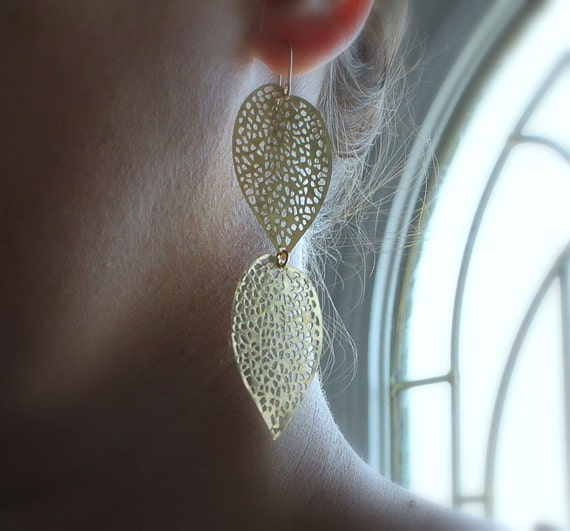 30% ANNIVERSARY SALE Leaf Earrings Gold Filigree Long Dangle Earrings Autumn Fashion, Falling Leaves