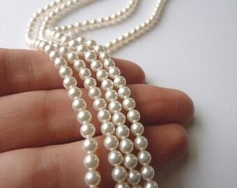 White Swarovski Pearls 4mm  -  half strand (50)