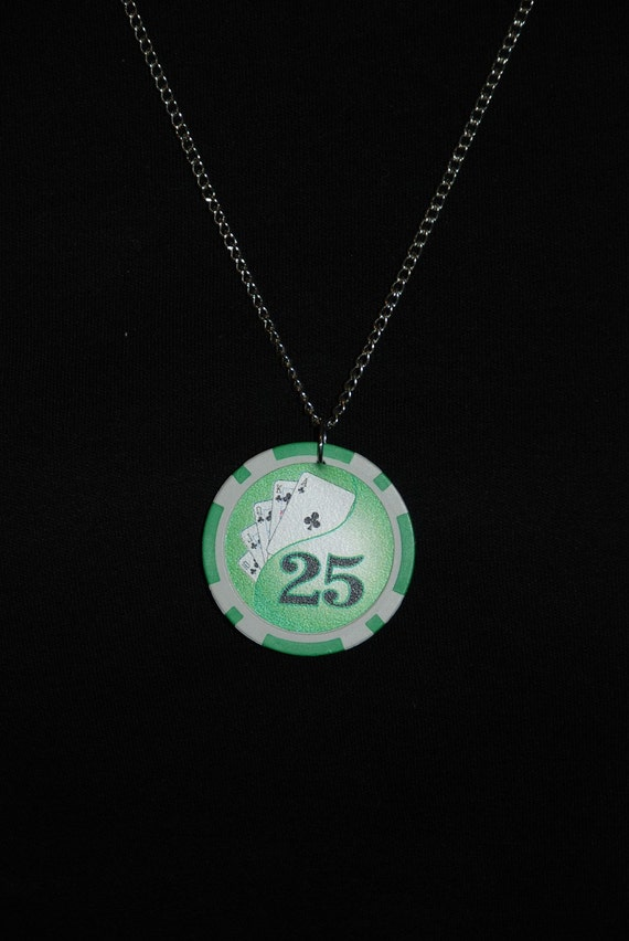 Lucky Poker Chip Necklace on silver chain