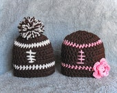 Set of 2 Football hats with flower for BOY GIRL TWINS - newborn photo props