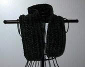 Dark Green Crocheted Chunky Chenille  Neck Warmer Scarf 38 Inches