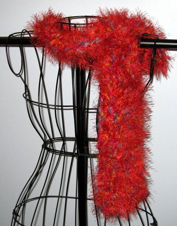 Holiday Red Crocheted Eyelash Yarn Fashion Boa Scarf 50