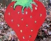 Strawberry Garden Stake / Garden Art / Garden Decor / Yard Art / Metal Garden Art / Shadow / Cut Out / Metal / Silhouette