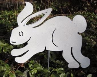 Bunny Garden Stake or Wall Art / Bunny / White Bunny / Rabbit / Hanging / Easter / Garden Art / Bunny Rabbit / Garden / Decor / Metal / Iron