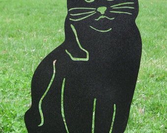 Cat Garden Stake or Wall Hanging / Memorial / Garden Art / Metal / Garden Decor / Kitty / Black / Rusty / Outdoor / Yard Art / Lawn Ornament