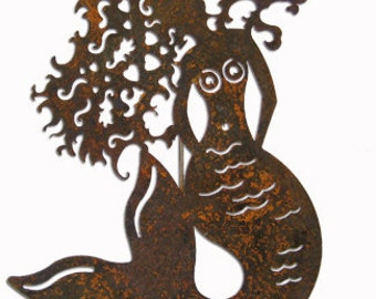 Metal mermaid wall decor