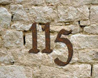 Set 3 Rustic House Numbers or Letters / 2 Inch up to 8 Inch / Initials / Metal / Wall Hanging / Address / Custom / Office