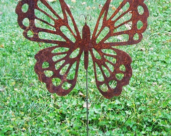 Butterfly Garden Stake / Garden Decor / Garden Art / Rust Decor / Yard Art / Metal Garden Art / Outdoor Garden decor / Lawn Ornament / Wall