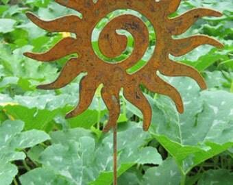 Sun Swirl Garden Stake or Wall Hanging, Wall, Yard, Art, Ornament, Metal, Outdoor, Hanging