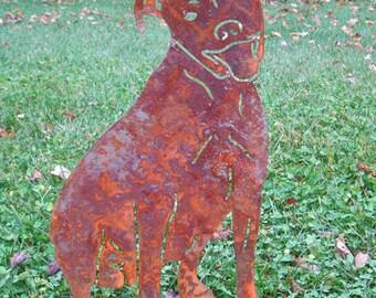 Pit Bull Garden Stake or Wall Hanging, Memorial, Metal, Rust, Outdoor, Silhouette, Yard, Art, Garden Art, Lawn Ornament, Outdoor, Art, Wall