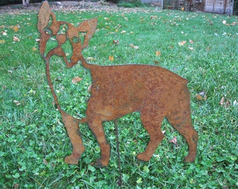 Boston Terrier Garden Stake or Wall Hanging / Memorial / Pet / Yard / Art / Lawn / Ornament / yard / Art / Metal / Outdoor / Rust / Dog