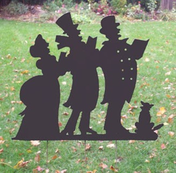Victorian Christmas Carolers Decorations: Christmas Caroling Silhouette Garden Stake Christmas