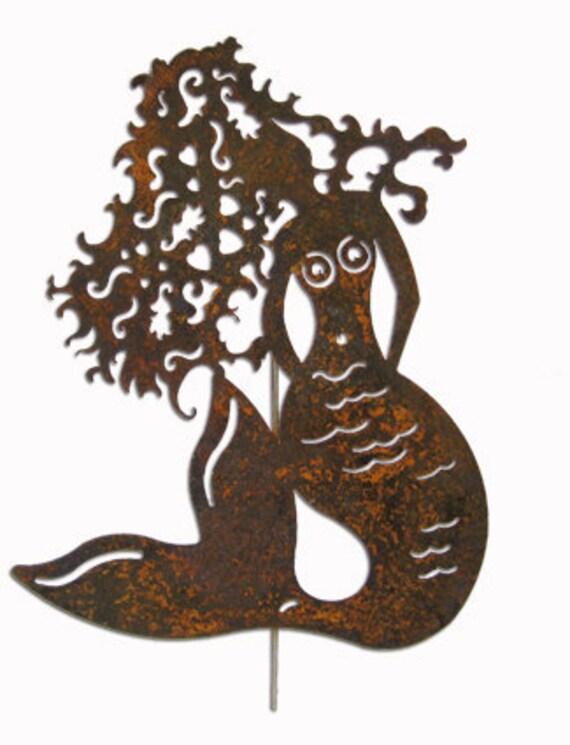 Mermaid Garden Stake or Wall Hanging / Art / Garden / Lawn / Ornament / Rust / Metal / Yard / Outdoor / Nautical / Blue / Green / Painted