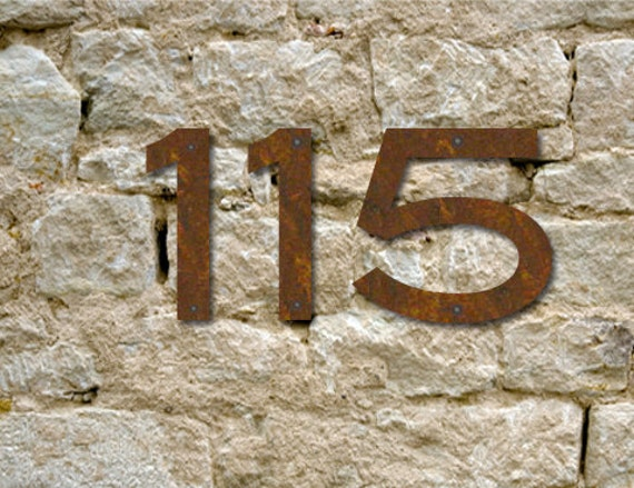 Set of 4 Rustic House Numbers or Letters / 2 Inch up to 8 Inch / Initials / Metal / Wall Hanging / Address / Custom / Office / Rust / Rustic