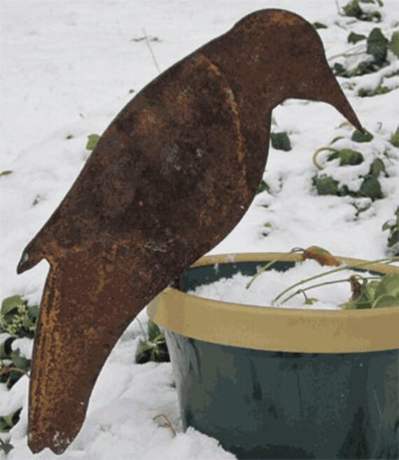 Crow Garden Stake / Garden Decor / Garden Art / Metal Garden Art / Bird / Yard Art / Lawn Ornament