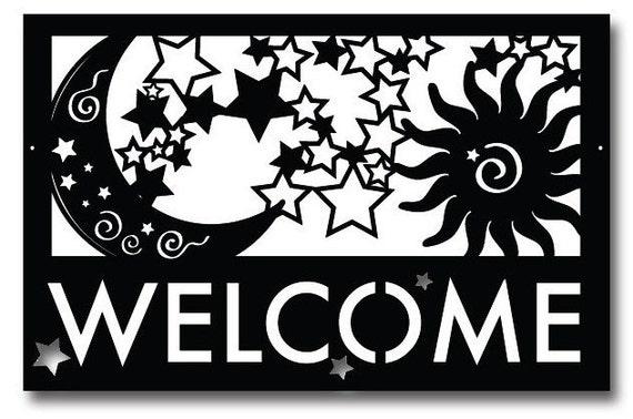 Moon, Stars & Sun Welcome Sign / Wall Art / Home Decor / Wall Hanging / Metal Wall Art / Metal / Welcome Sign / Art /