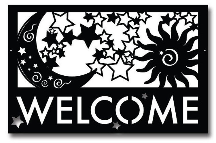 Moon Stars Amp Sun Welcome Sign Wall Art By