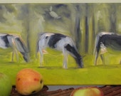 Reserved - Cows - 8X16 Original Oil Painting by Fiona Dalrymple