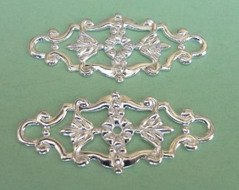 10pcs silver plated filigree connectors bendable- nice details