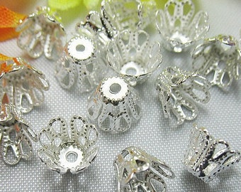 100pcs -6x5mm - bright Silver plated - Bell flower - filigree bead caps