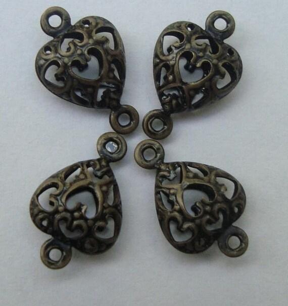 Antique Bronze Filigree Heart Connectors ((20pcs)) - SALE -