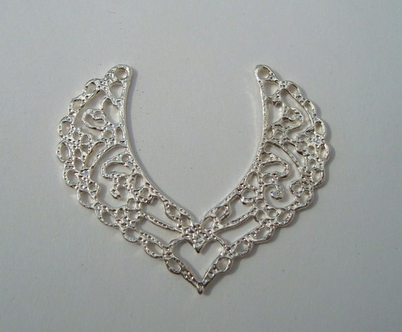10pcs filigree V shaped center piece pendant Silver plated-SALE-SALE-