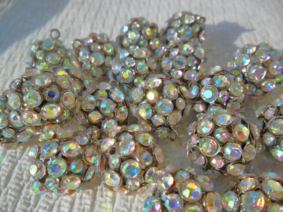 Vintage Style Sparkle balls AB Rhinestone pendants 14.5mm((4pcs))