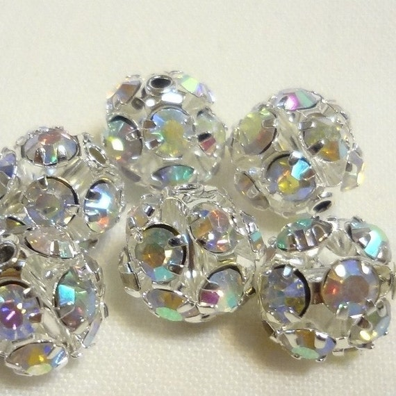 Vintage Style Sparkle Balls - sparkling AB Rhinestones Beads 10mm ((8pcs))