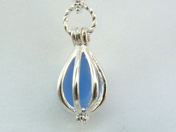 Silver teardrop cage Locket ((3pcs))For pendant and earrings set