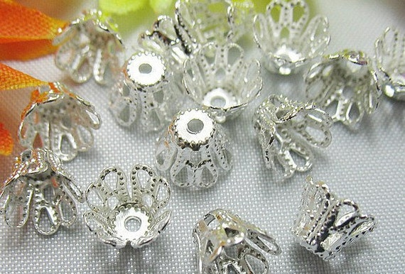 100pcs Silver plated - Bell flower filigree bead caps 5x6mm