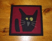 Primitive Wool Felt Black Cat Penny Rug