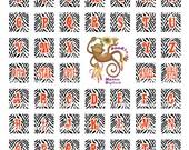 Wild Zebra Alphabet  Initials Digital Printable Scrabble tile Art Sheet 10101