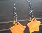 Orange swirl star dangles