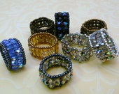 Beaded Band Ring, 2 Row Crystals in Your Choice,  Custom Color