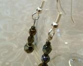 Crystal Drop Earrings in Metallic Brown Iris