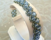 Tennis Bracelet in Light Sapphire Blue, Swarovski and Sterling Silver