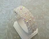 Crystal AB Cuff Bracelet, Bridal Bracelet, Comtemporary Wedding Jewelry